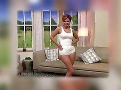 Mature model cameltoe on TV shop. Lingerie