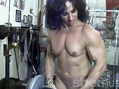 Annie Rivieccio Bare Girl Bodybuilder in the Gym