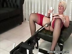 Older lady uses a humping machine