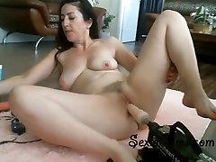 Tight Brunette Attempting Her New Fucking Machine