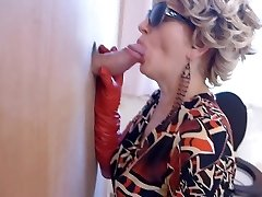 Milf in boots watches porn and enjoys gloryhole dt