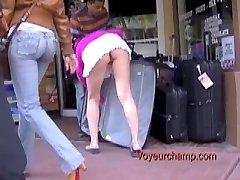 Upskirt Flashing Exhibitionist Wife Tatiana Teasing While Husband At Work!