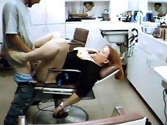 Hairdresser rests on my manhood in the salon
