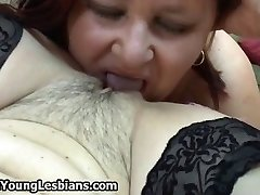 Horny redhead elderly lady loves licking