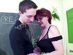 Mature School Teach demonstrate Young Boy How to Fuck right