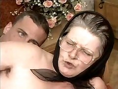 Unshaved Grandmother in Glasses and Scarf Fucked