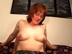 Hairy Mature Red-haired in Glasses and Pantyhose Fucks