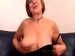 Grandmother in Glasses Toys and Sucks Cock