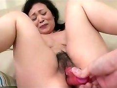 55yr elder Granny Kayoe Ozawa Sprays and Creamed (Uncensored)