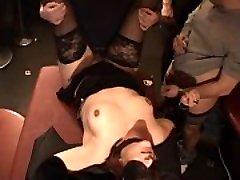 Blindfolded slutwife gangfucked by over 40 boys