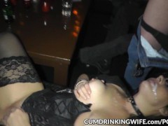 One wife creamed by hundreds of guys
