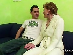 Grannie Caught Young Boy Watch Porn and Help with Fuck