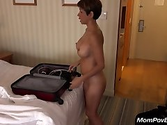 Huge-chested asian MILF behind the scenes