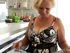 Granny Janice loves to get wet and naughty