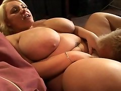 blond with huge natural saggy bosoms