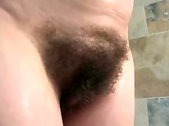 english mature bathes her giant jugs & hairy pussy