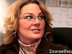 Massive stacked mature secretary trains her new sexy mate