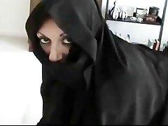 Iranian Muslim Burqa Wife gives Footjob on Yankee Mans Big American Weenie