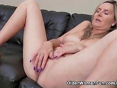 Blonde milf Velvet Skye drips her beaver mayo on the couch