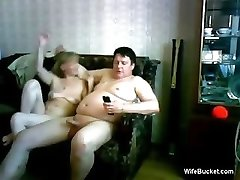 average wifey gives a funny blowjob
