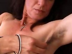 Hairy mature amateur in panties stretches her pussy