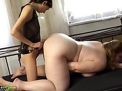 OldNanny Chubby busty grannie jerk with strapon and tee