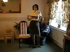 Teasing Milf in Nylon Stockings and High-heeled Shoes