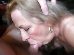 Platinum-blonde granny sucks coock her husband