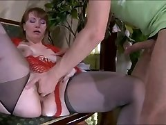 Fool-guy & sweet super-sexy mother with saggy tits