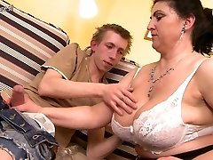 Gorgeous mother fucked hard by young man and unloads