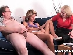 Skinny babe gets fucked in rock hard 3some