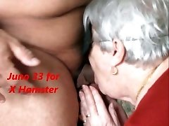 Grandmother swallows the cum and she likes it