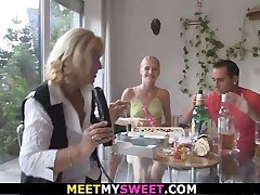 Happy birthday leads to older threesome
