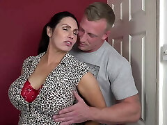 Booty big-boobed mom suck and fuck lucky son