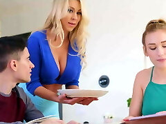 Mom blows daughters-in-law bf while studying