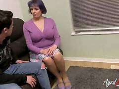 AgedLovE Busty British Mature Fucks Teenage Man