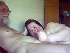 Elder gal sucks & plays with Elderly guy