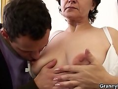 Skinny 70 years old granny rides his cock