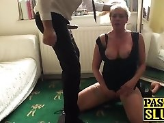 Sexy blond mature deepthroats and gets drilled by a fat cock