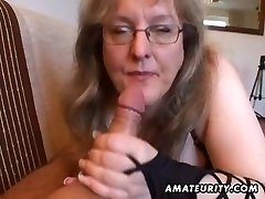 Busty amateur wife handjob and blowjob