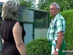 German Grandpa and Granny fuck Rock-hard in Garden