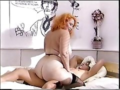 Large ass sandy-haired mature fucks a young cock