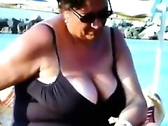 Checking Out Elder Russian Hooters At A Beach