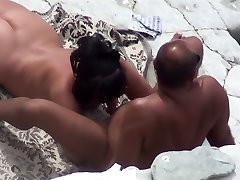 Mature woman does deep throat dude and has lovemaking on a public beach