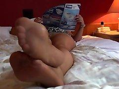 Softcore mom nylon footplay