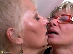 Ideal mature mothers at lesbian threesome