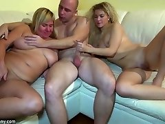 Young girl fucking in 3some with grannie