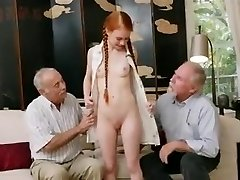 old fellows with young redhair babe