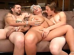 Light-haired mom in a threesome.