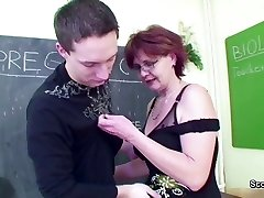 MILF Teacher show young dude how woman get pregnant